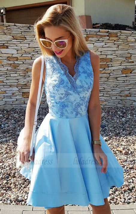 V-Neck Short Prom Dresses,Satin Graduation Dress,Homecoming Dress
