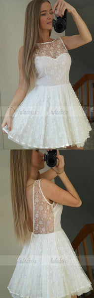 Backless Short White Lace Homecoming Dress,BD99509