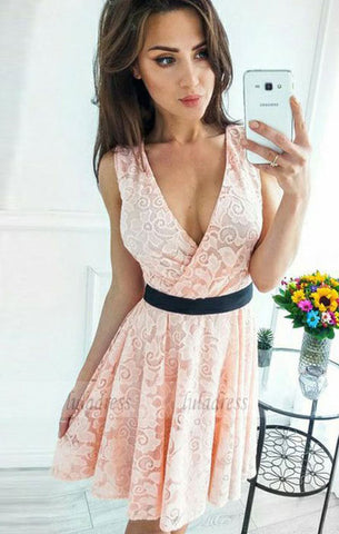 A-Line V-Neck Short Pink Lace Homecoming Dress with Sash,BD99510