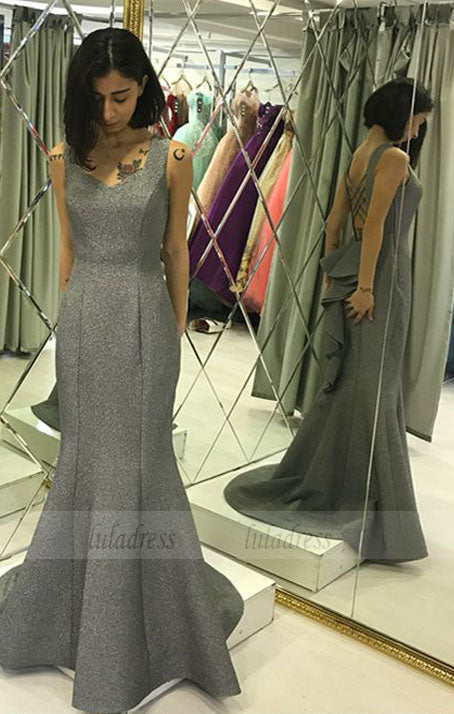 modest silver mermaid prom dresses with ruffles,BD99662