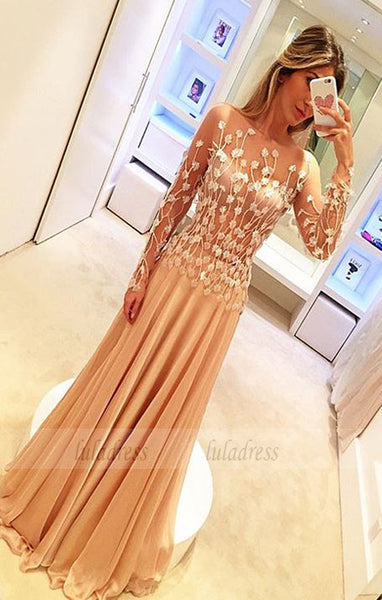 Prom Dresses,Prom Dress,Chiffon Appliques Gorgeous Long-Sleeve Long Prom Dresses,BD99450