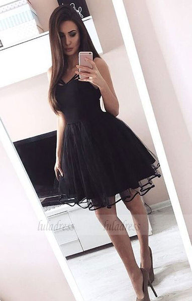 A-Line V-Neck Above-Knee Black Homecoming Dress with Pleats,BD99578