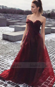 A-Line Sweetheart Sweep Train Burgundy Tulle Prom Dress with Ruffles,BD99663