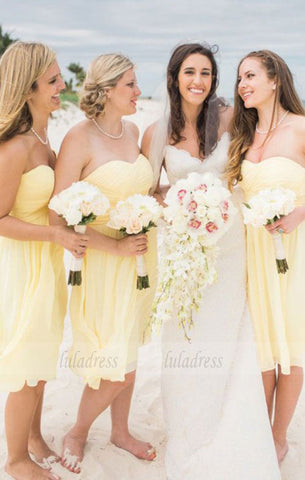 A-Line Sweetheart Knee-Length Yellow Chiffon Bridesmaid Dress Ruched,BD99848