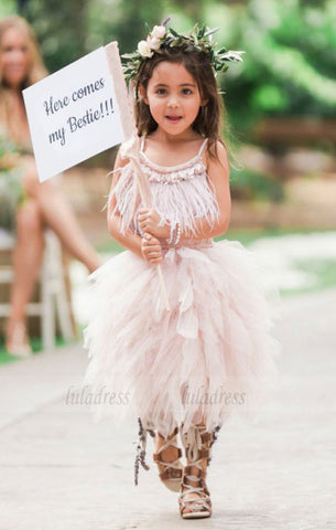 A-Line Spaghetti Straps Asymmetrical Tulle Flower Girl Dress with Feather,BD99835