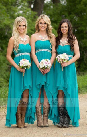 Turquoise Beach Bridesmaid Dresses ,High Low Modest Chiffon Long Wedding Guest Gowns,BD99387