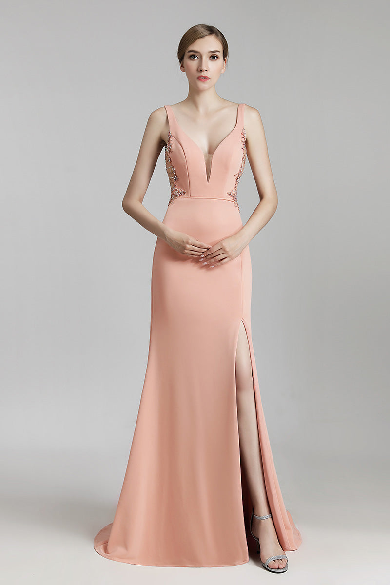 Simple Mermaid backless Long Evening Dress With Side Slit, LX465