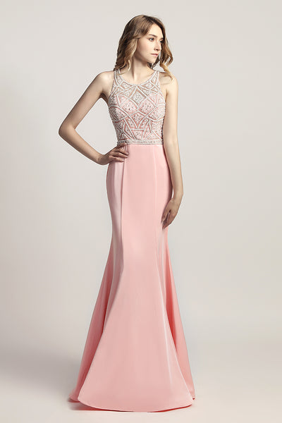 Light Pink Mermaid Long Evening Dress Formal Prom Dress, LX420