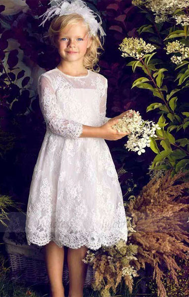 Lace Appliques Long Sleeve Flower Girl Dresses for Weddings,BD99755