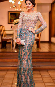 Mermaid Long Sleeves Evening Dress, Prom Dress with Appliques Beading,BD98657
