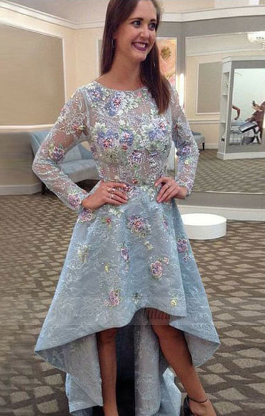 A-Line Round Neck Long Sleeves High Low Prom Dress with Appliques,BD98760