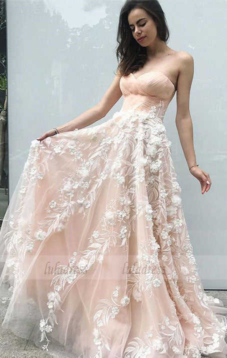 A-Line Sweetheart Sweep Train Prom Dress with Appliques,BD99549