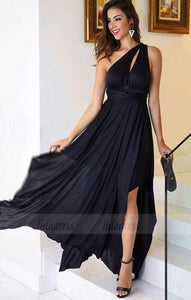 Simple one shoulder chiffon long prom dress, black evening dress,BD99883