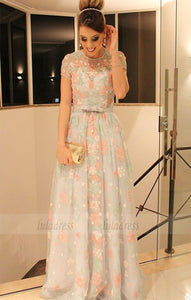 A-Line Jewel Cap Sleeves Sweep Train Mint Lace Prom Dress with Belt,BD98529