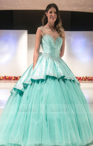 Beaded Satin Puffy Tulle Party Ball Gowns,BD98512