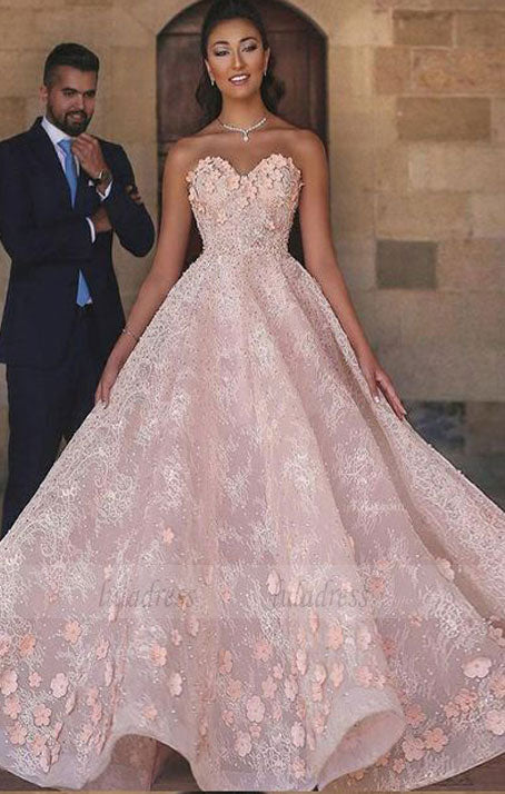 A-Line Sweetheart Floor-Length  Beaded Lace wedding dress with Appliques,BD98662