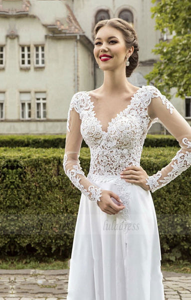 Lace Tulle A-line Wedding Dresses Crystals Lace Applique V Neck Count Train Elegant Bridal Gowns,BD99860