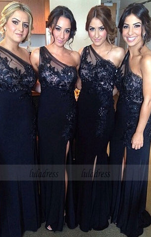 One Shoulder Bridesmaid Gown,Pretty Prom Dresses,Lace Prom Gown,BD98456