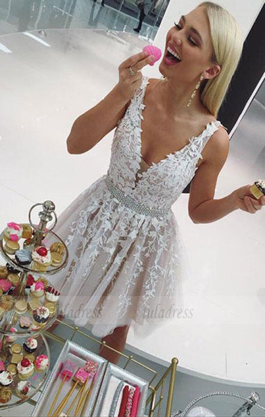 Cute v neck tulle lace short prom dress, evening dress,BD98196