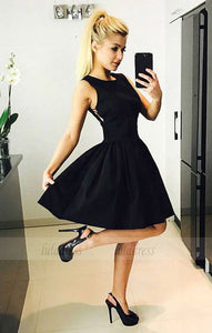 Black Homecoming Dress,Criss Cross Prom Dress,Satin Homecoming Dress,BD98439