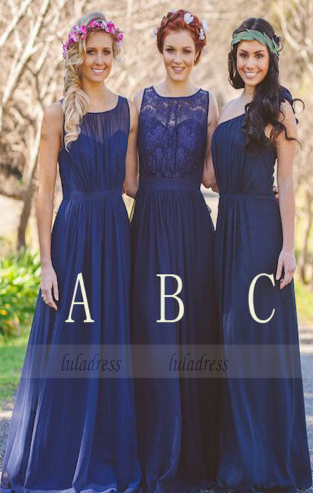 Floor Length Ruched Chiffon Mismatched Bridesmaid Dress,BD98906