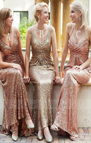 rose gold bridesmaid dress,gold sequins bridesmaid dresses,BD98270
