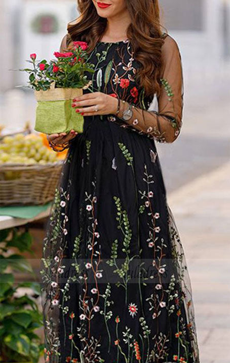 Simple Prom Dresses Flowering Fields Embroidered Mesh Maxi Dress,BD98624
