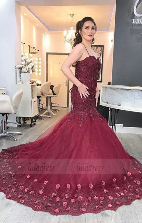 Elegant Burgundy Lace Flowers Beaded Sweetheart Tulle Mermaid Evening Dresses,BD98168