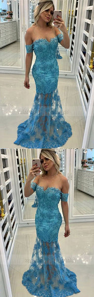 off the shoulder long prom dresses, modest mermaid evening gowns with beading,BD98730