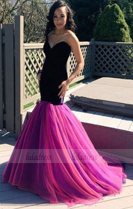 Prom Dresses,Sweetheart Long Sexy Sleeveless Mermaid Tulle Evening Dresses,BD99455