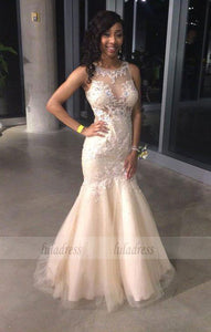 Prom Dresses,Gorgeous Sleeveless Mermaid Evening Dress Lace Appliques Prom Dress,BD99457