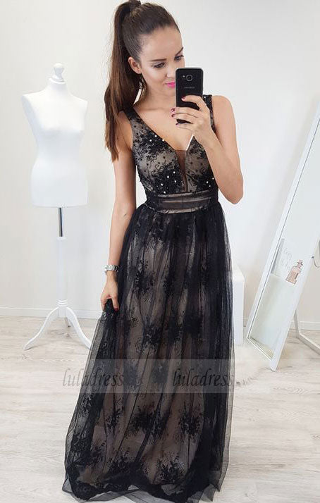 A-Line V-Neck Backless Floor-Length Black Prom Dress with Appliques Beading,BD99545