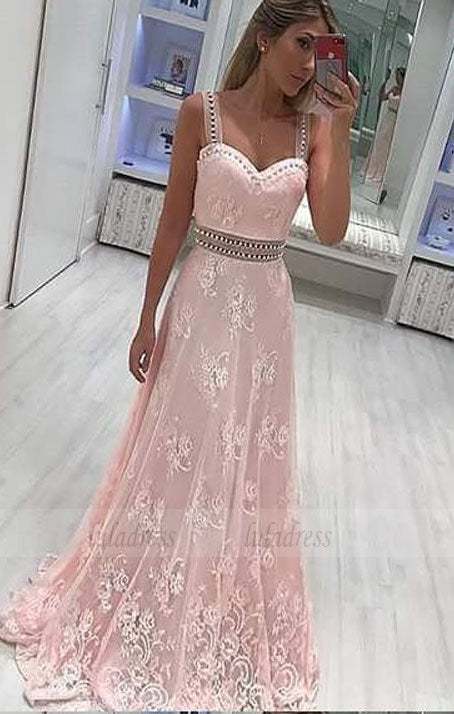 A-Line Scoop Sweep Train Pink Lace Prom Dress with Beading Appliques,BD98642
