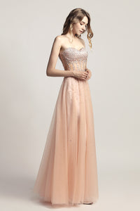 Strapless A-line Tulle beaded Long Prom Dress, LX464