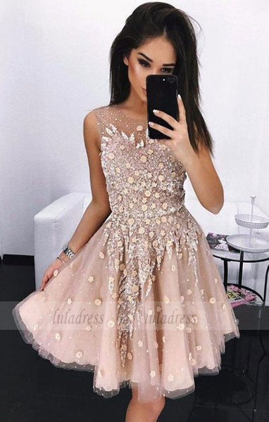 A-Line Round Neck Above-Knee Prom Homecoming Dress with Appliques Beading,BD99520