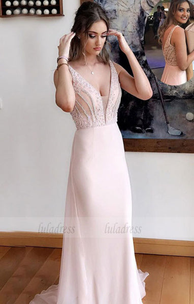 Deep V-Neck Sweep Train Pearl Pink Chiffon Prom Dress with Beading,BD99814