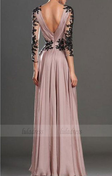V neckline Party Dress,Black Lace Evening Dress,BD98544