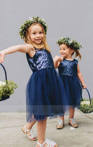 Navy Blue Sequins Tulle Flower Girls Dresses for Weddings,BD99752