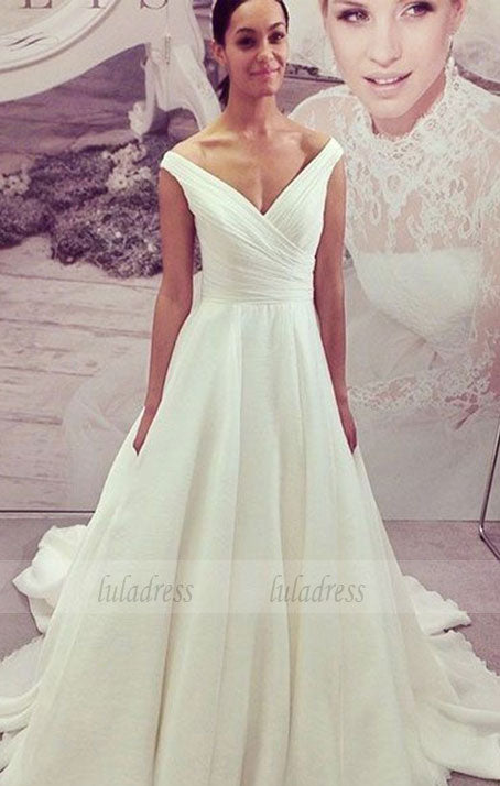 Simple V Neck Long Chiffon Wedding Dress,BD99585