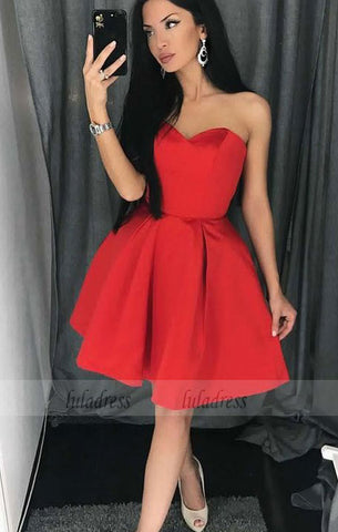 A-Line Sweetheart Above-Knee Red Satin Homecoming Dress with Pleats,BD99485