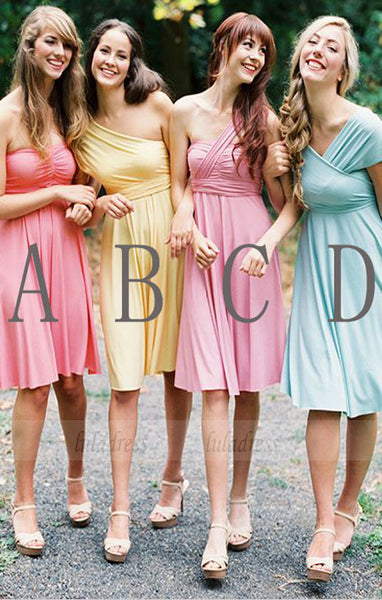 Custom Bridesmaid Dress, Knee-Length Bridesmaid Dress, Cheap Bridesmaid Dress,BD98956