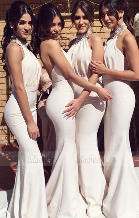 Beaded Halter Long Jersey Backless Mermaid Bridesmaid Dresses,BD98269