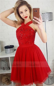 Red Homecoming Dresses,Prom Gown,Short Homecoming Dress With Sequins,Red Prom Dress,BD98440