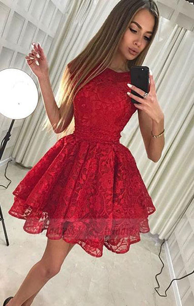 Cute lace short prom dress,homecoming dress,BD98227