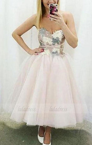 Cute sweetheart neck lace tulle short prom dress,homecoming dress,BD99000