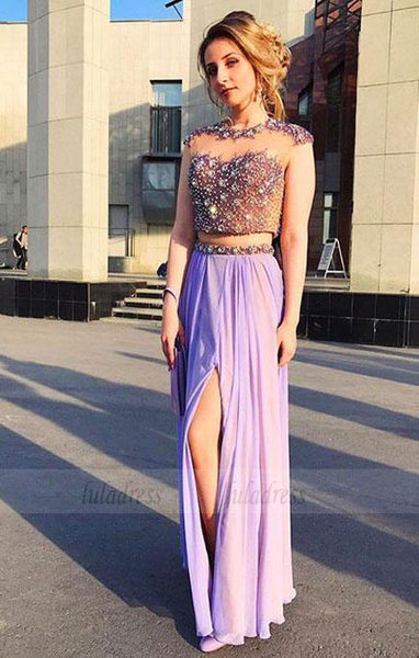 Sexy Sleeveless Prom Dress, Beaded Two Piece Prom Dresses, High Slit Long Party Dress,BD99024