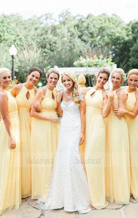 Keyhole Daffodil Pleated Chiffon Bridesmaid Dresses, Light Yellow Bridesmaid Dresses, Long Bridesmaid Dresses,BD98115