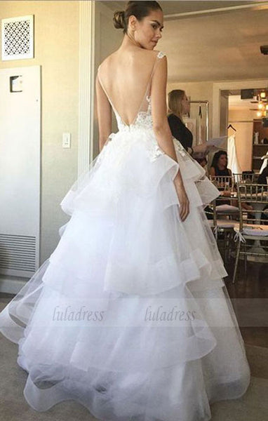 Charming Wedding Dress, Open Back Appliques Tulle Wedding Dress, Sexy Bridal Dresses,BD99063