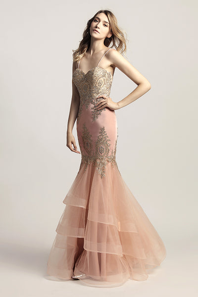 Charming Sweetheart Appliques Mermaid Long Evening Dress, LX462