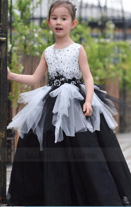 black & white flower girl dress, black & white birthday dress, children ball gown, little girl ball gown,BD99742
